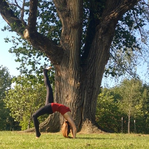 Outdoor yoga.  Wheel Pose